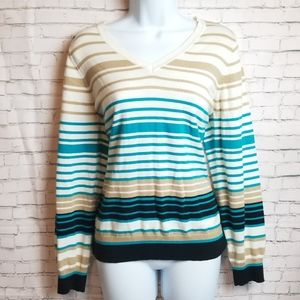 LIZ CLAIBORNE striped v neck sweater